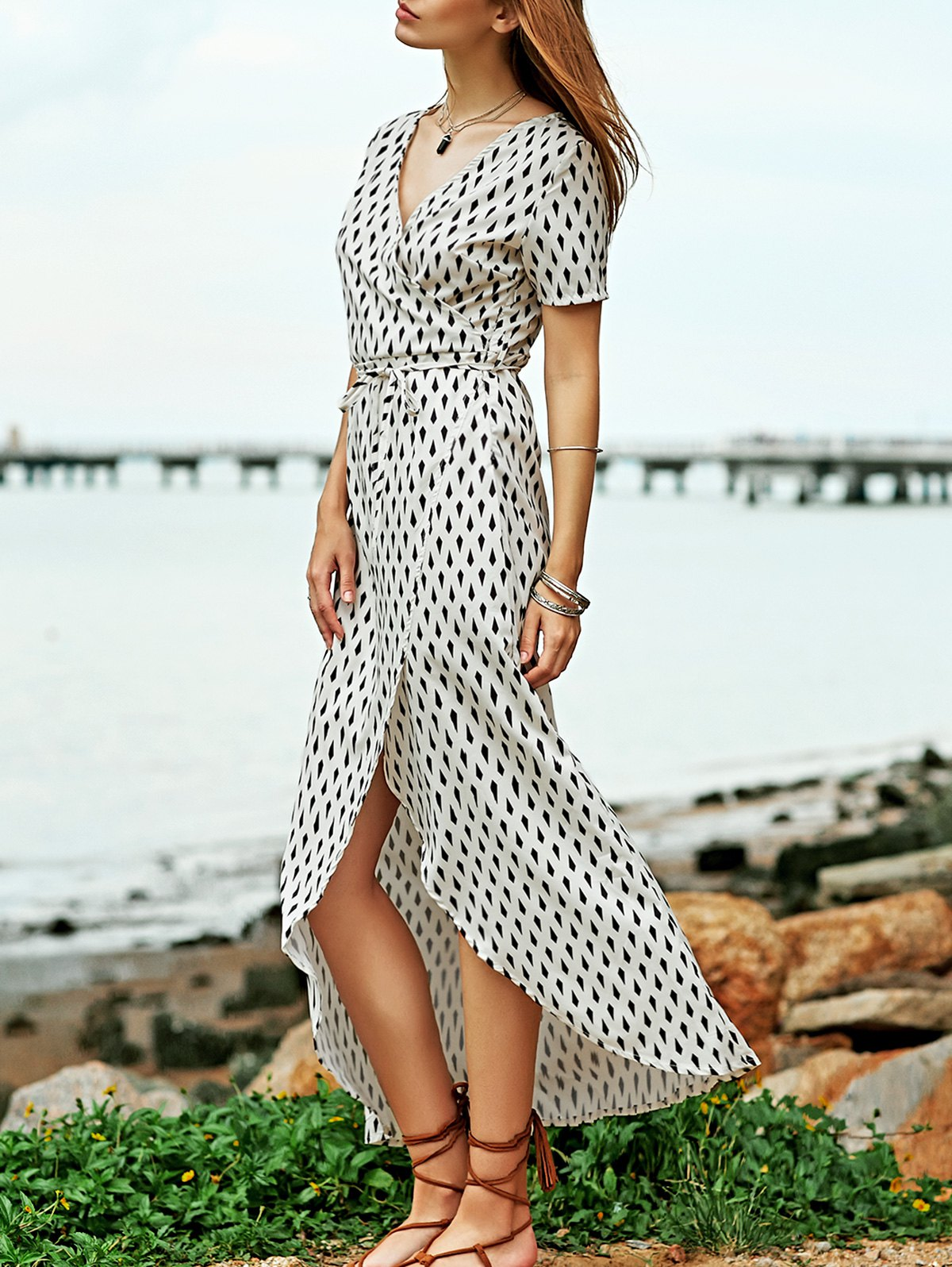 V-Neck Crossed High Slit Print Maxi Dress