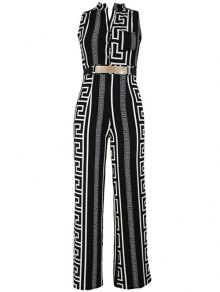 Printed Stand Neck Sleeveless Jumpsuit - Black