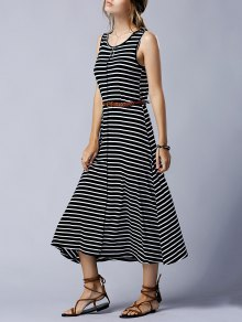 Striped Casual Round Neck Sleeveless Maxi Dress