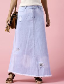 Denim Ripped Rough Selvedge Midi Skirt