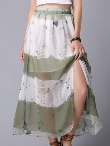 Tie Dye High Waist Chiffon Skirt