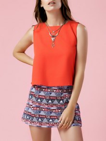 Orange Tank Top and Geometric Print Skirt Suit