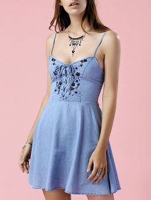 Embroidered Denim Cami Dress - Blue