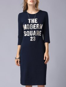 Letter Patchwork Round Neck 3/4 Sleeve Dress