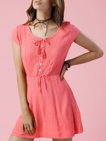 Drawstring Round Neck Short Sleeve Solid Color Dress