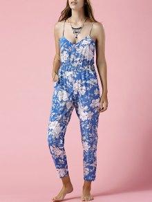 Blue Floral Print Cami Jumpsuit - Blue