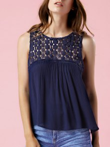 Solid Color Lace Spliced Round Neck Tank Top