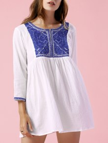 Ethnic Style Embroidery Round Neck 3/4 Sleeve Blouse