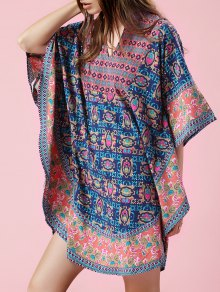 Print V-Neck Batwing Sleeve Loose Blouse
