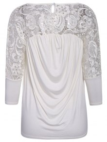 Lace Splicing Nine-Minute Sleeve Blouse - WHITE XS