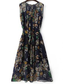 Belted Printed Round Neck Sleeveless Dress and Solid Color Cami Tank Top