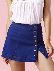 Single-Breasted Denim Mini Skirt - Light Blue L