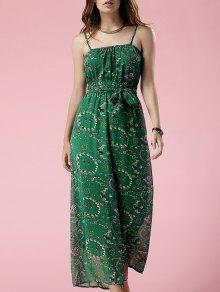 Green Print Cami Chiffon Jumpsuit