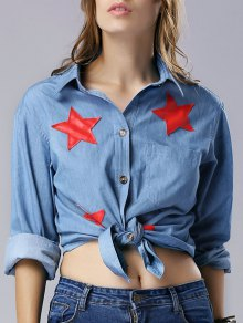 Star Pattern Turn Down Collar Long Sleeve Chambray Shirt