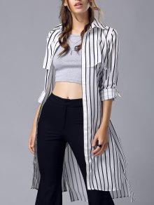 Striped Turn Down Collar Chiffon Maxi Shirt - Stripe M
