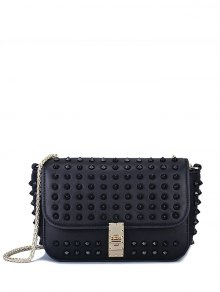 Studded Hasp Solid Color Crossbody Bag