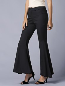 Black High Waist Flare Pants - Black M