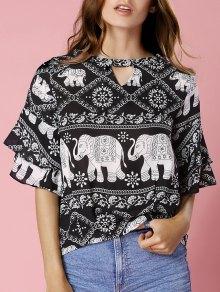 Elephant Print Keyhole Neck Short Sleeve Blouse