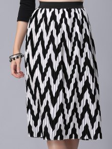 High Waist Zig Zag Pattern Skirt