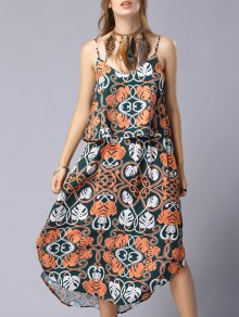 Print Cami Flounce Splice Popover Dress