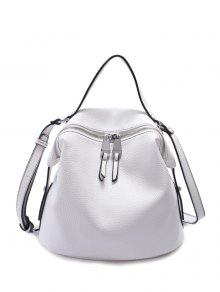 PU Leather Solid Color Zip Crossbody Bag