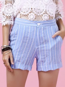 Striped Scalloped Hem Shorts - Light Blue S