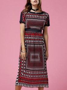 Printed Round Neck Short Sleeve Waisted Dress
