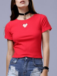 Cut Out Round Neck Short Sleeve Slimming T-Shirt