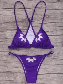 Embroidered Cami Bikini Set - Purple S