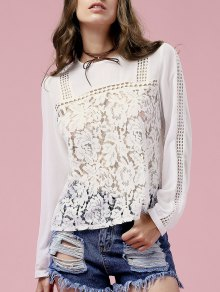 White Lace Spliced Jewel Neck Long Sleeve Blouse