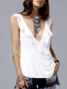 Low Cut Frilled Tank Top