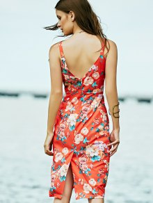 Low Cut Bodycon Midi Dress - ORANGE RED M
