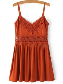 Lace Spliced Cami Mini Dress
