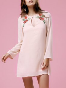Loose Printed Round Neck Long Sleeve Dress - Shallow Pink Xl