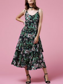 Printed Spaghetti Strap Midi Dress