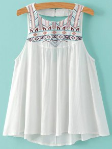 Embroidery Round Neck Cut Out Tank Top