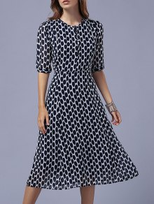 Polka Dot Round Neck Half Sleeve Swing Dress - Black