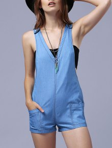 Blue Denim Plunging Neck Sleeveless Playsuit