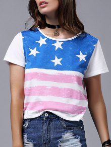 America Flag Print Short Sleeve Round Neck T-Shirt