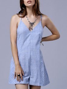 Cross String Striped Spaghetti Straps Sleeveless Romper - Blue And White 2xl