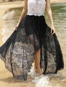 Full Lace Black High Waist Skirt