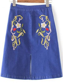 Slit Floral Embroidery Denim Skirt - Denim Blue S