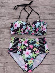 Floral Halter Plus Size Bikini Set - Black