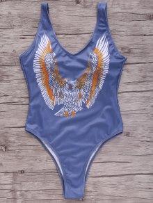 Eagle Print Plunging Neck One-Piece Swimwear