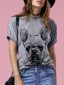 Short Sleeve Cartoon Printed Round Neck T-Shirt - Gray S