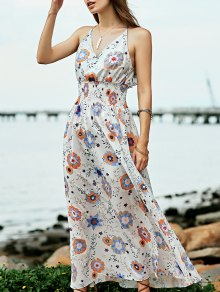 Floral Print Beach Maxi Dress - White L