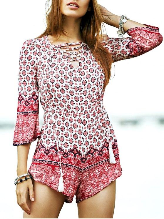 best Lace-Up Ethnic Pattern Playsuit - COLORMIX XL
