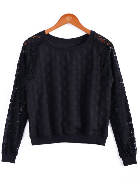 affordable Openwork  T-Shirt For Women - BLACK S