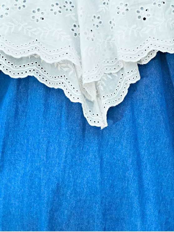 Embroidered Ruffle Denim Dress - BLUE AND WHITE L Mobile