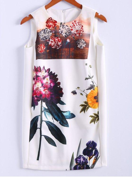 women Floral Print Jewel Neck Sundress - WHITE S